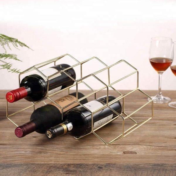 Design wijnrek goud